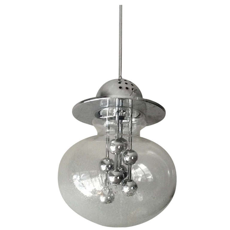Clear Glass and Chrome Globe Chandelier, Italy, 1970s For Sale