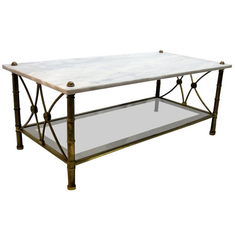 Marble top rectangular coffee table spain 1960s at 1stdibs for Marble top coffee table rectangle