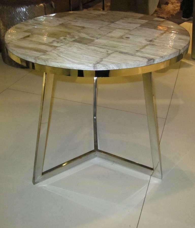 Indonesian Petrified Wood Slice Top Side Table At 1stdibs