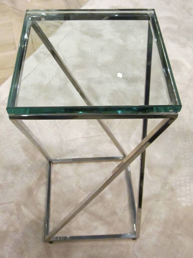 Contemporary Square Glass Top Cocktail Table For Sale At 1stdibs