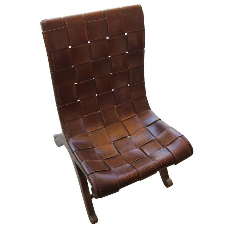 1940 S Spanish Valenti Woven Leather Chair