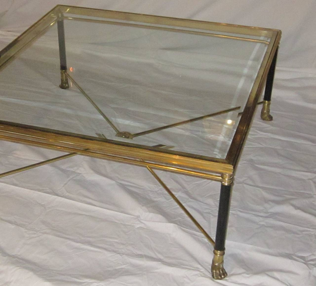 French mid century brass and glass coffee table at 1stdibs for French glass coffee table