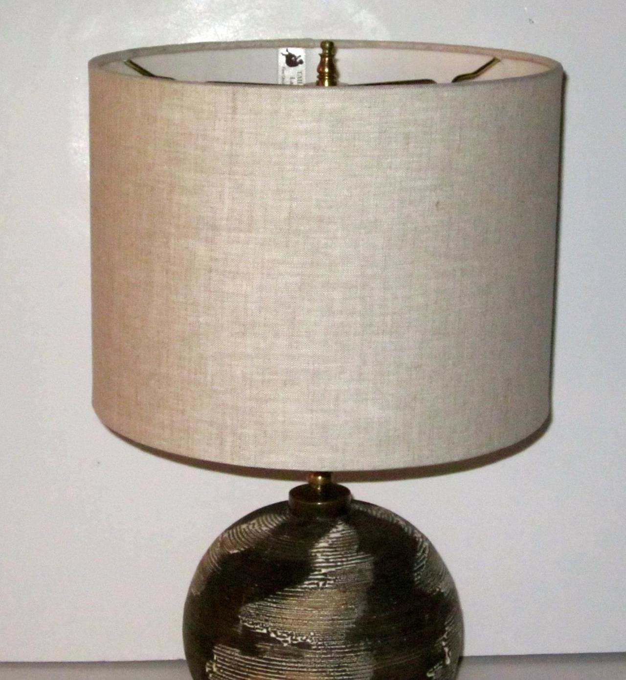 Mid-20th Century French Ceramic Desk/Table Lamp, circa 1940s For Sale