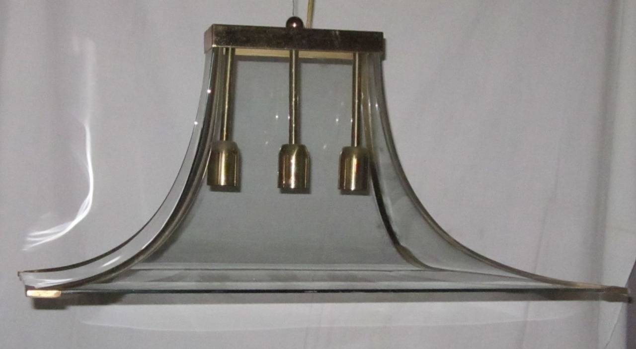 Mid-20th Century Curved Glass and Brass Chandelier, Italy, 1940s For Sale