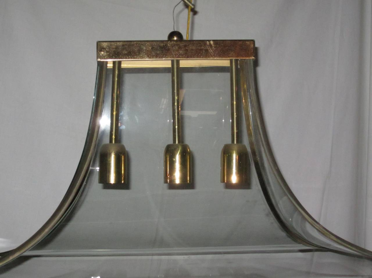 Curved Glass and Brass Chandelier, Italy, 1940s For Sale 2