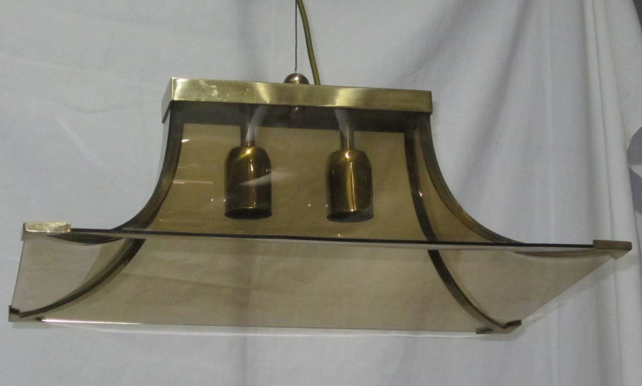 Late 20th Century 1970s Italian Smoked Taupe Curved Glass and Brass Chandelier For Sale