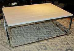 Wood Grain White Marble Top Coffee Table