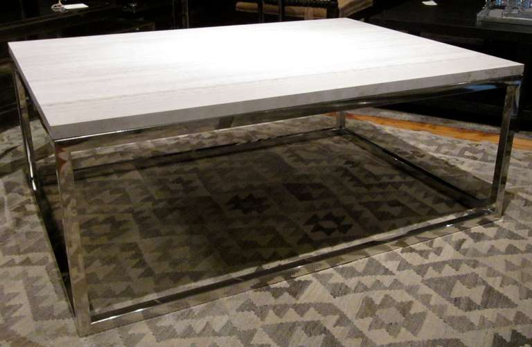 Wood Grain White Marble Top Coffee Table At 1stdibs