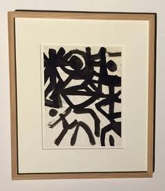 Artist Jacques Nestle Black and White Ink Painting, France, Mid-Century