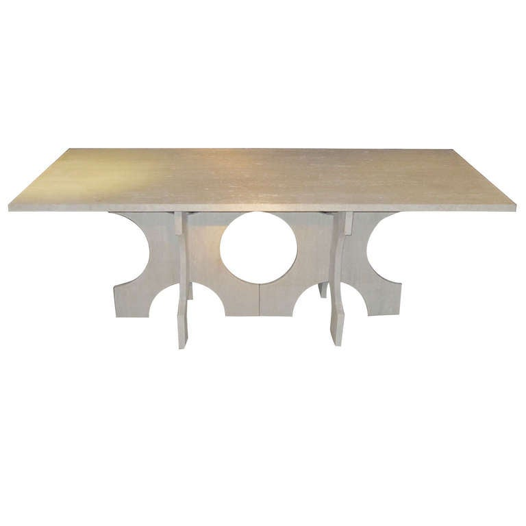 Italian Travertine Dining Table, Contemporary