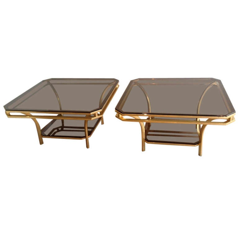 1970s Square Coffee Table-Smoked Glass and Brass, France For Sale
