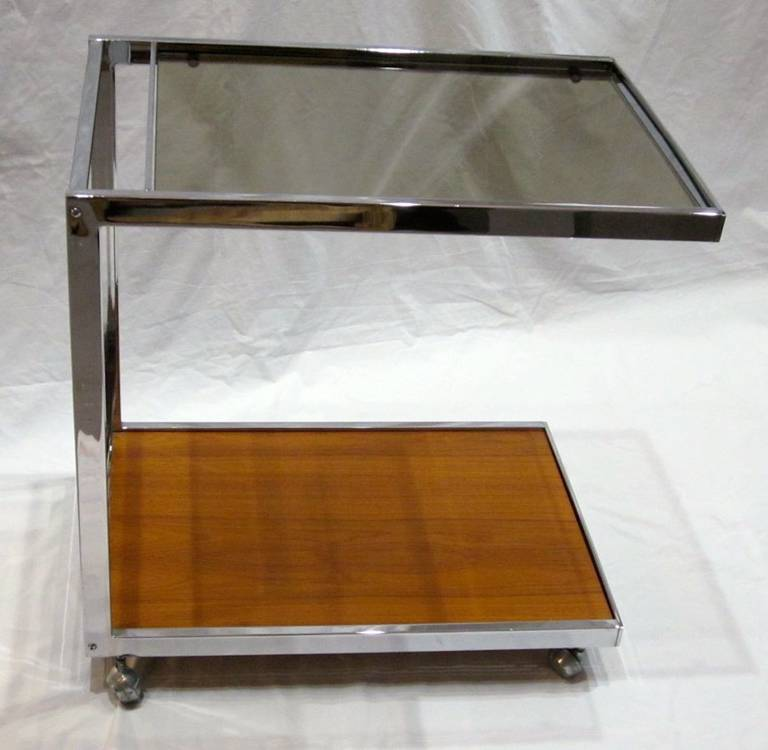 1970s French chrome frame two-tier bar cart on casters.