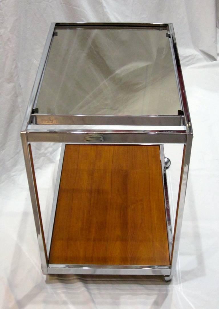 French 1970s Chrome, Glass and Wood Bar Cart on Casters, France For Sale