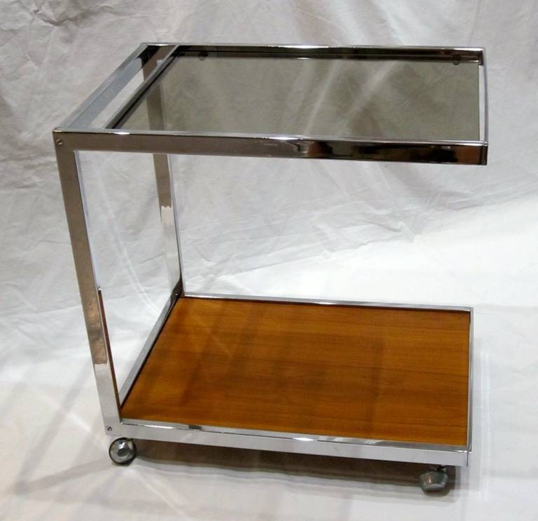 Late 20th Century 1970s Chrome, Glass and Wood Bar Cart on Casters, France For Sale