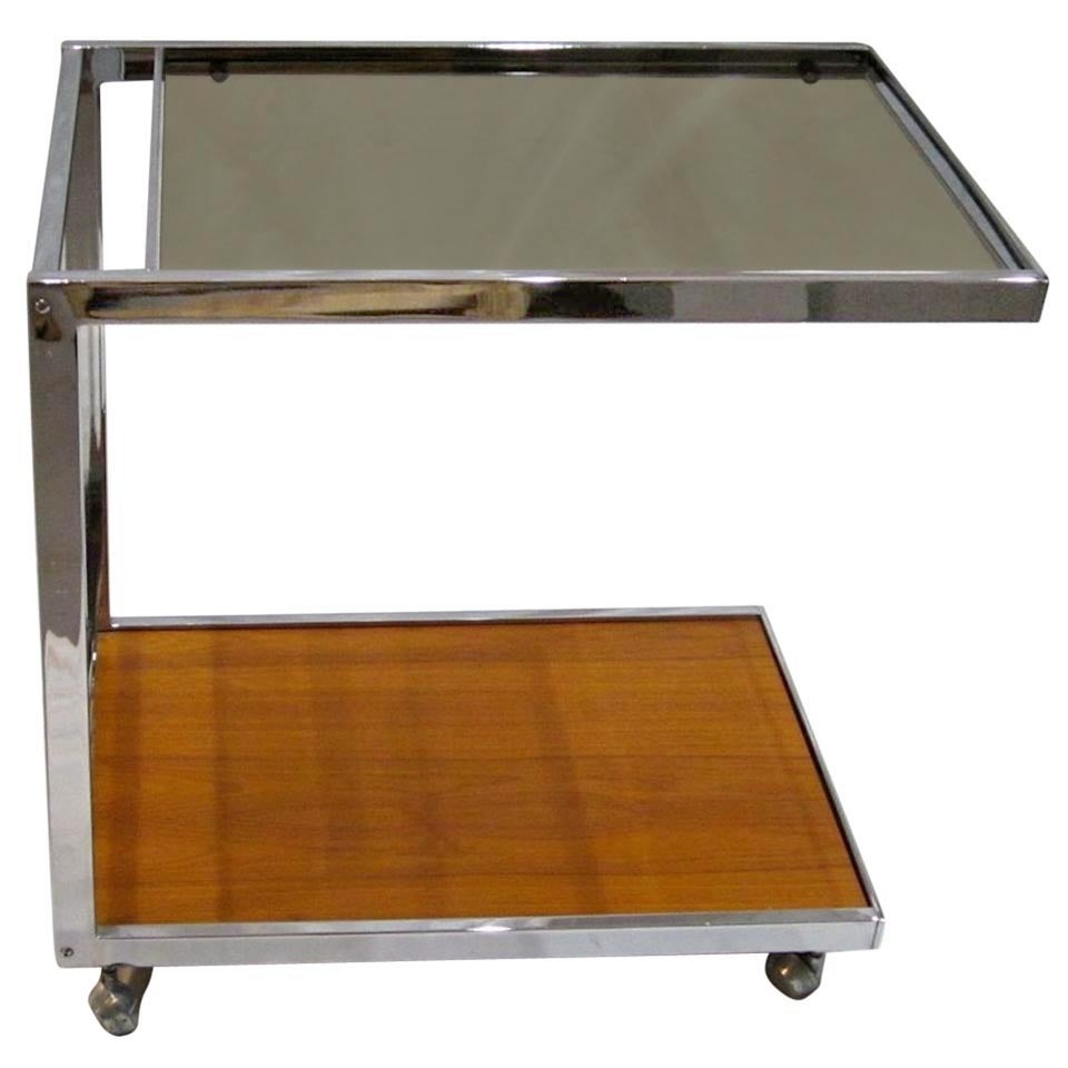 1970s Chrome, Glass and Wood Bar Cart on Casters, France