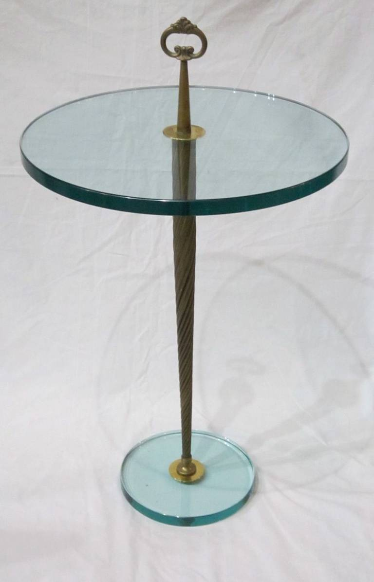 Brass and glass round cocktail table france 1940s for for Round brass and glass coffee table