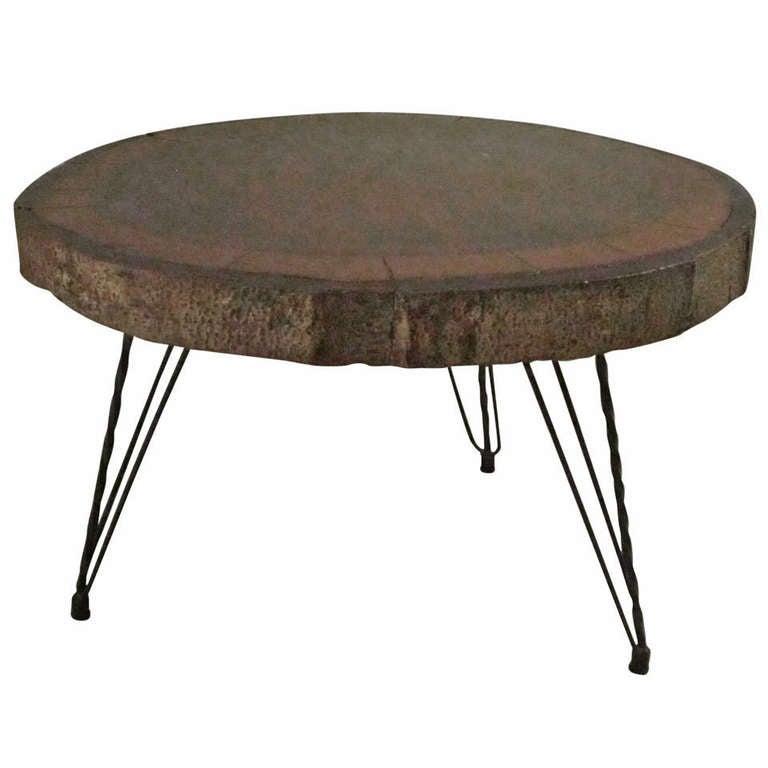 wood slice coffee table at 1stdibs