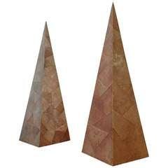 Maitland-Smith Shagreen Pair of Obelisks, 1960s