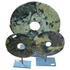 Chinese set of 3 Agate Discs