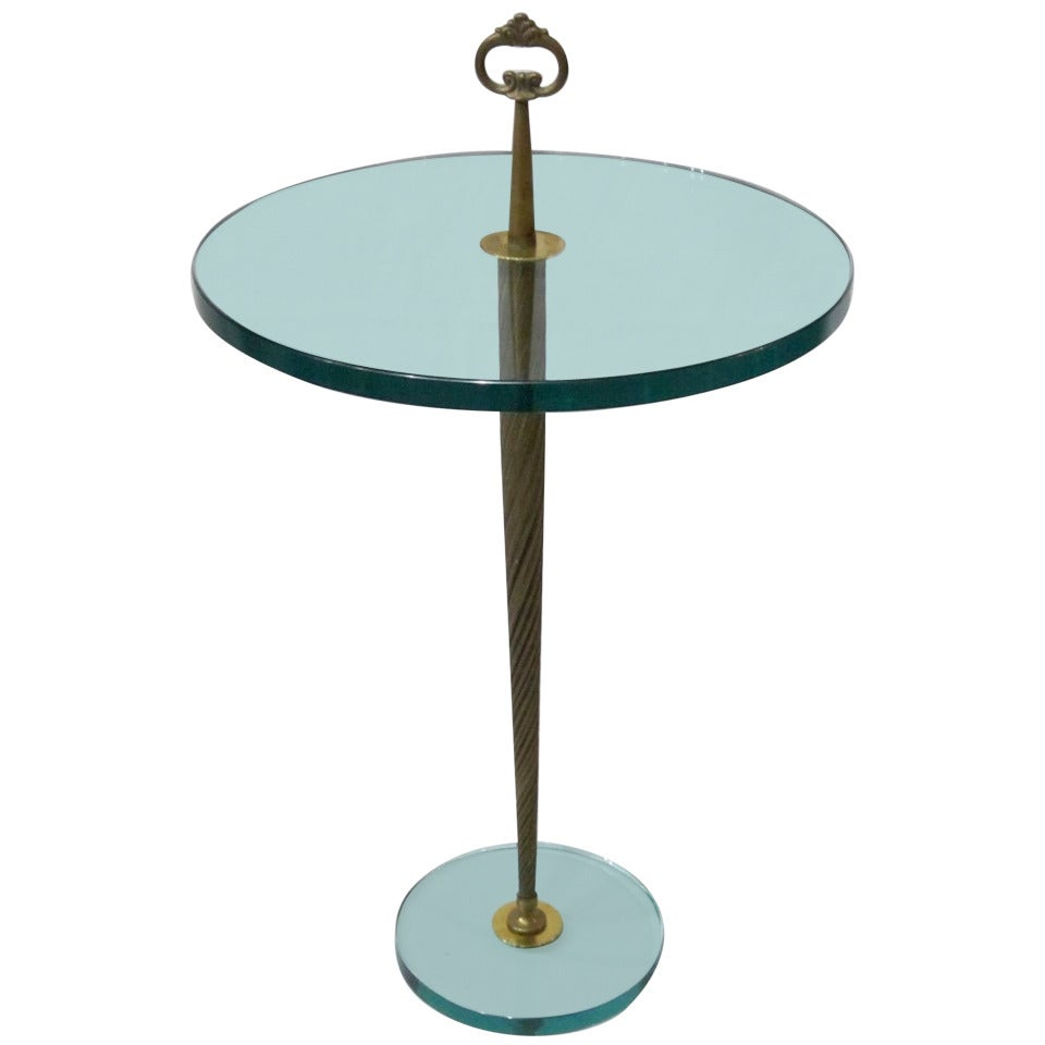 Brass and glass round cocktail table france 1940s Brass round coffee table
