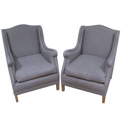 1930s Pair of Upholstered Arm Chairs, Spain