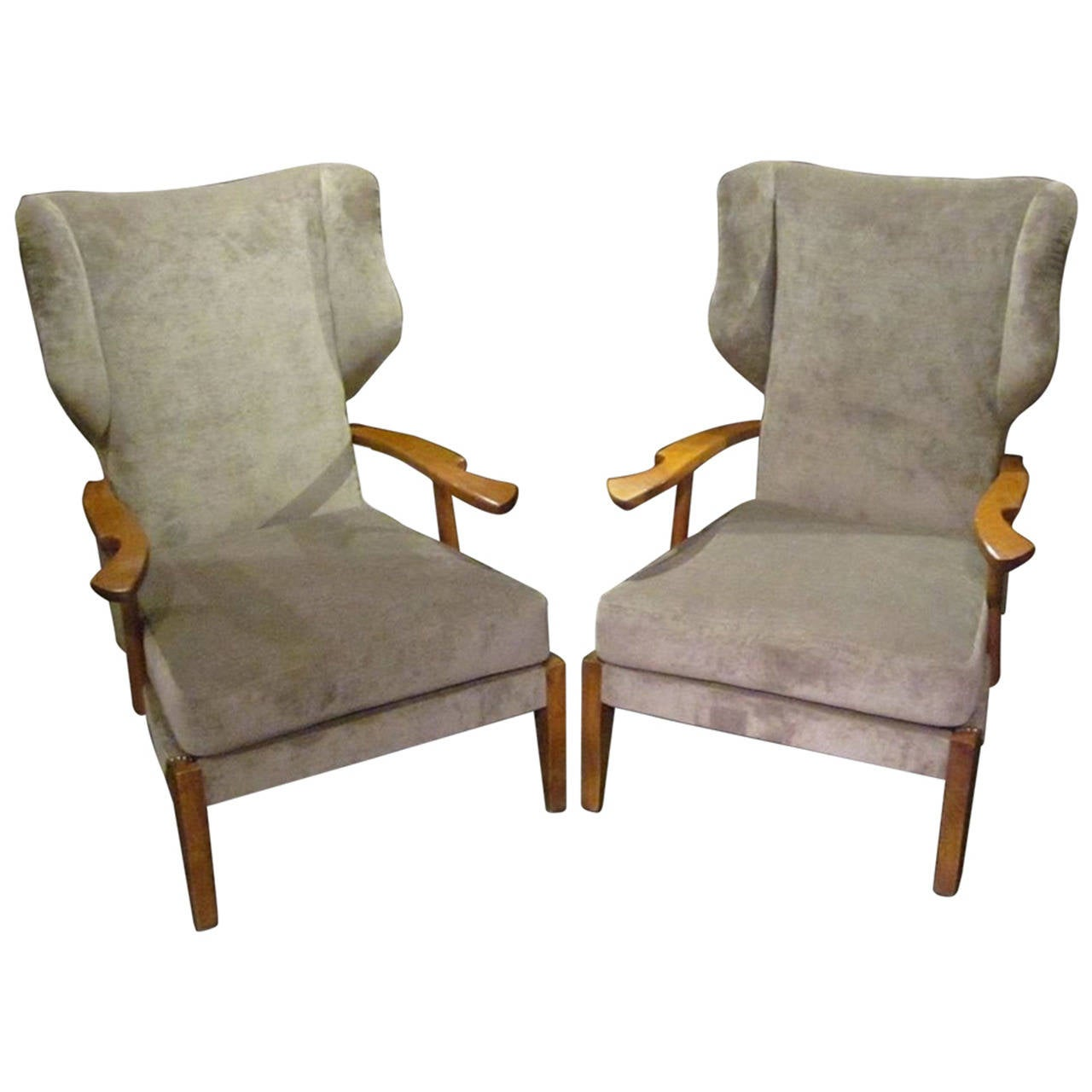 Mid Century Pair of High Back Upholstered Taupe Chairs