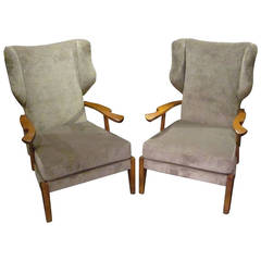 Mid-Century Pair of High Back Upholstered Taupe Chairs, Italy, 1960s