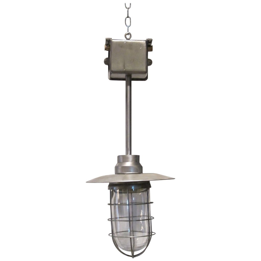 Industrial Large Metal And Glass Cage Light, Netherlands