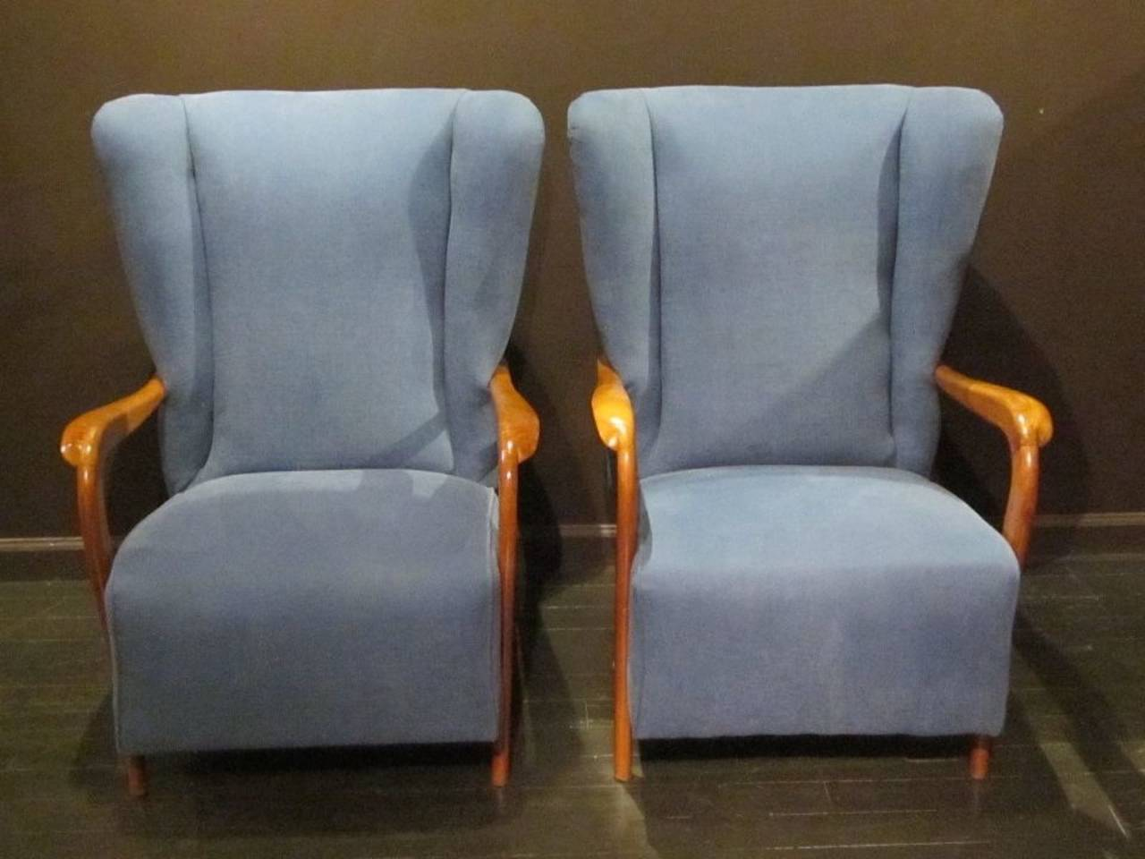 Italian Mid-Century Pair of Upholstered Blue High Back Chairs, Italy, 1960s For Sale