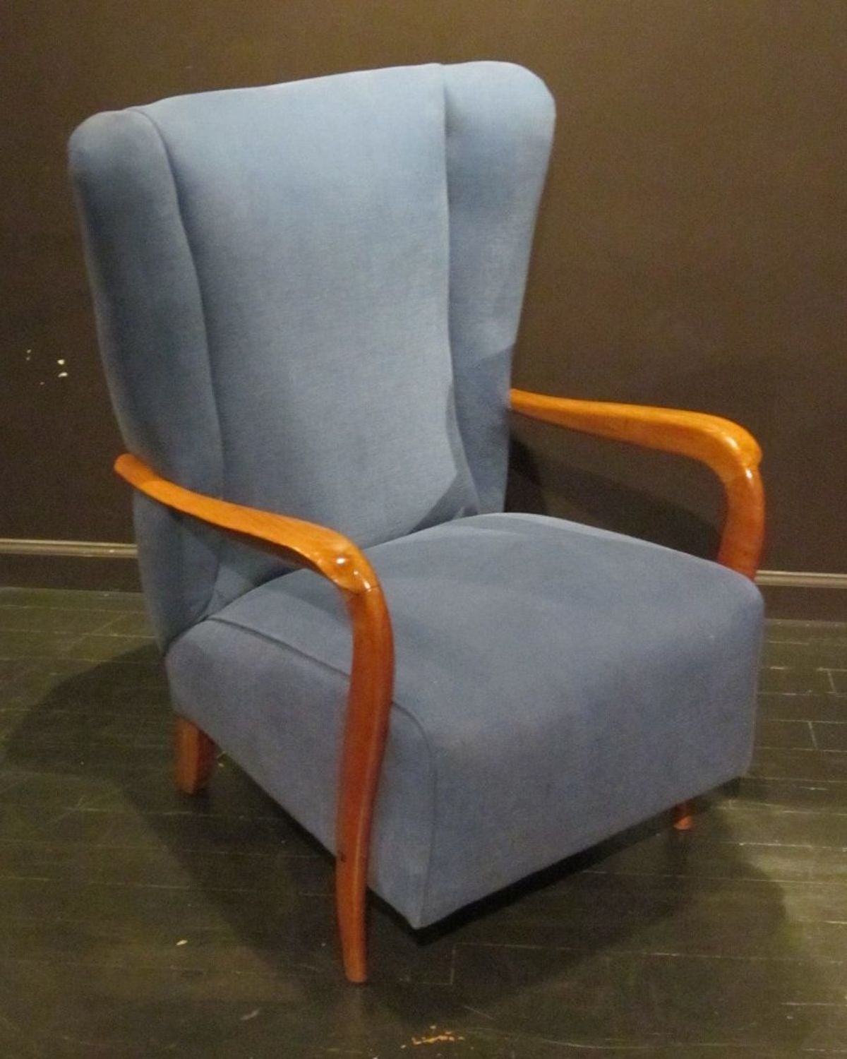 Mid-20th Century Mid-Century Pair of Upholstered Blue High Back Chairs, Italy, 1960s For Sale