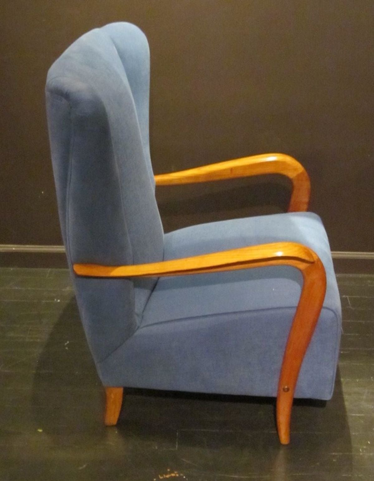 Fabric Mid-Century Pair of Upholstered Blue High Back Chairs, Italy, 1960s For Sale
