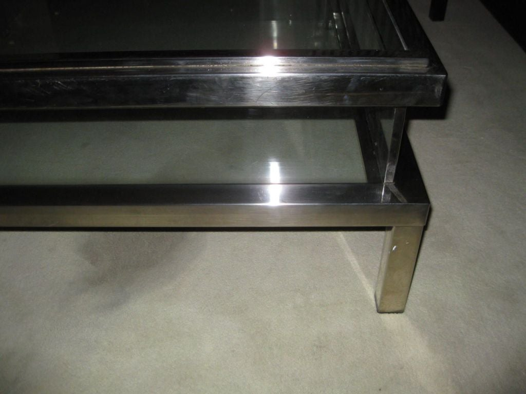 1940 39 s belgian nickel and glass coffee table vitrine at for Table vitrine