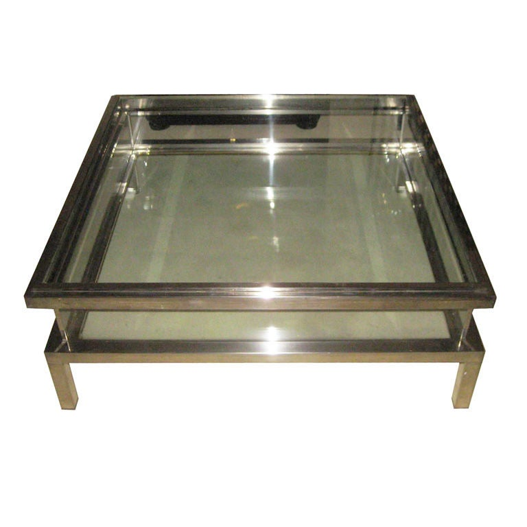 1940 39 S Belgian Nickel And Glass Coffee Table Vitrine At 1stdibs