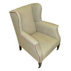 19th Century English High Back Wing Chair