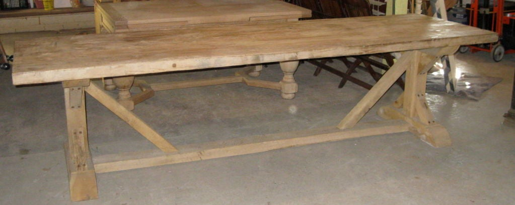 Vintage White Oak Bleached Dining Table At 1stdibs