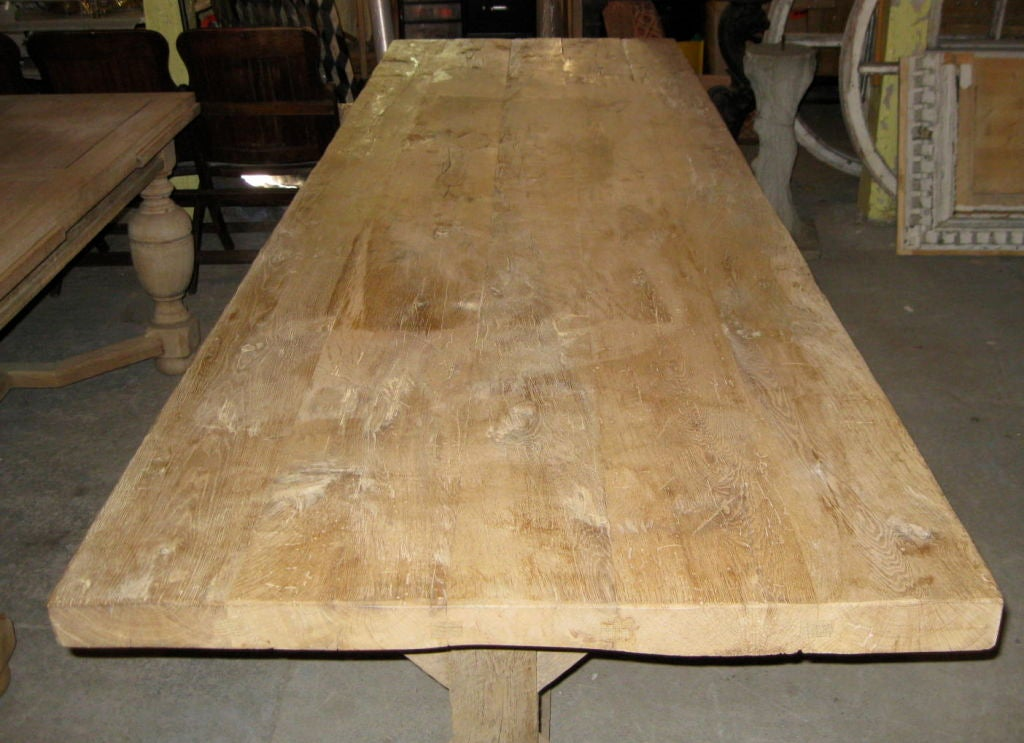 Vintage white oak bleached dining table at stdibs