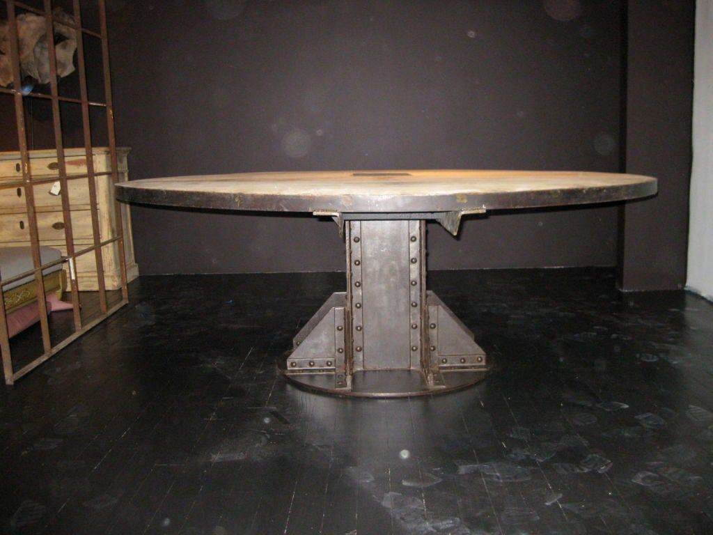 This 1940 39 S French Vintage Oak Industrial Dining Table Is No Longer