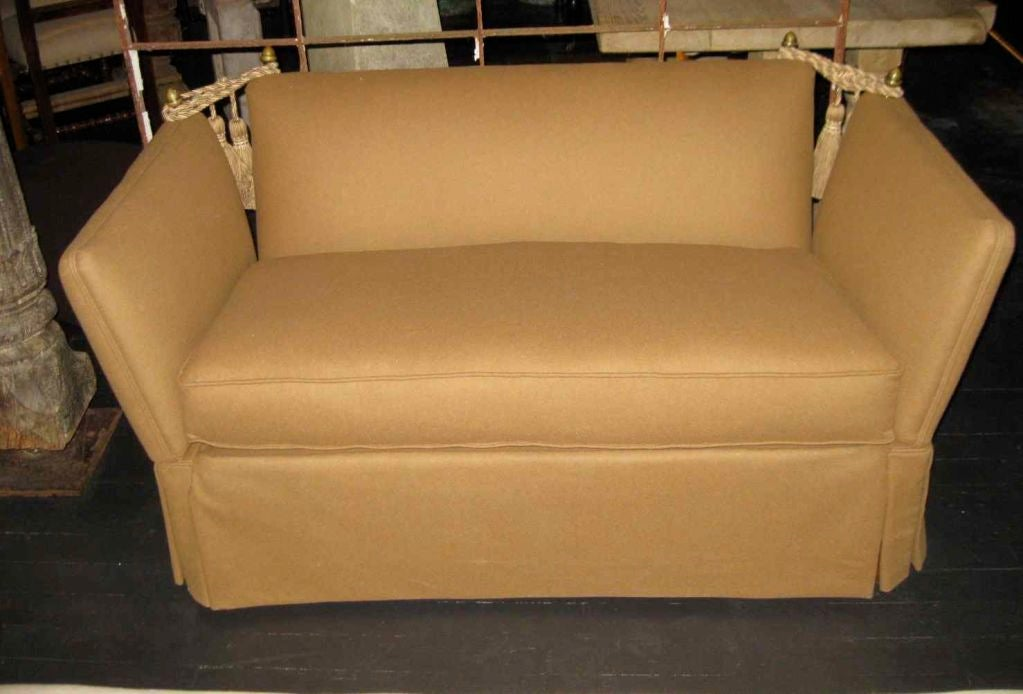 This French settee has been reupholstered in a camel flannel fabric.<br />
