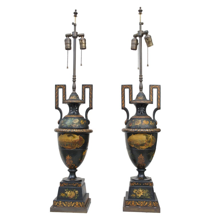 A Very Fine Pair of 19th Century Tole Urns Mounted as Lamps