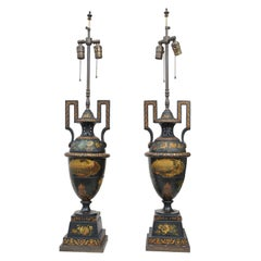 Pair of 19th Century Tole Urns Mounted as Lamps