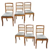 A Fine Set of Six Charles X Curley Maple Wood & Walnut Inlayed Chairs