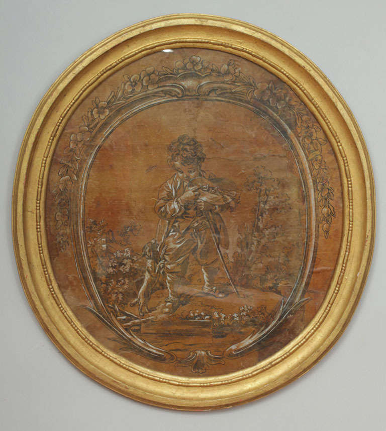 This lovely set of drawings in the style of Francois Boucher depict children in nature. Done in ink with white gouache highlights creating a monochromatic  yet dramatic statement on the art of the drawn line. The formal decorative drawn frame border