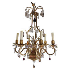 Vintage Masion Bagues Gilt Bronze, Marble and Cut Crystal Chandelier