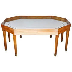 Large Vintage Blonde Mahogany and Mirror Topped Coffee Table by Ralph Lauren
