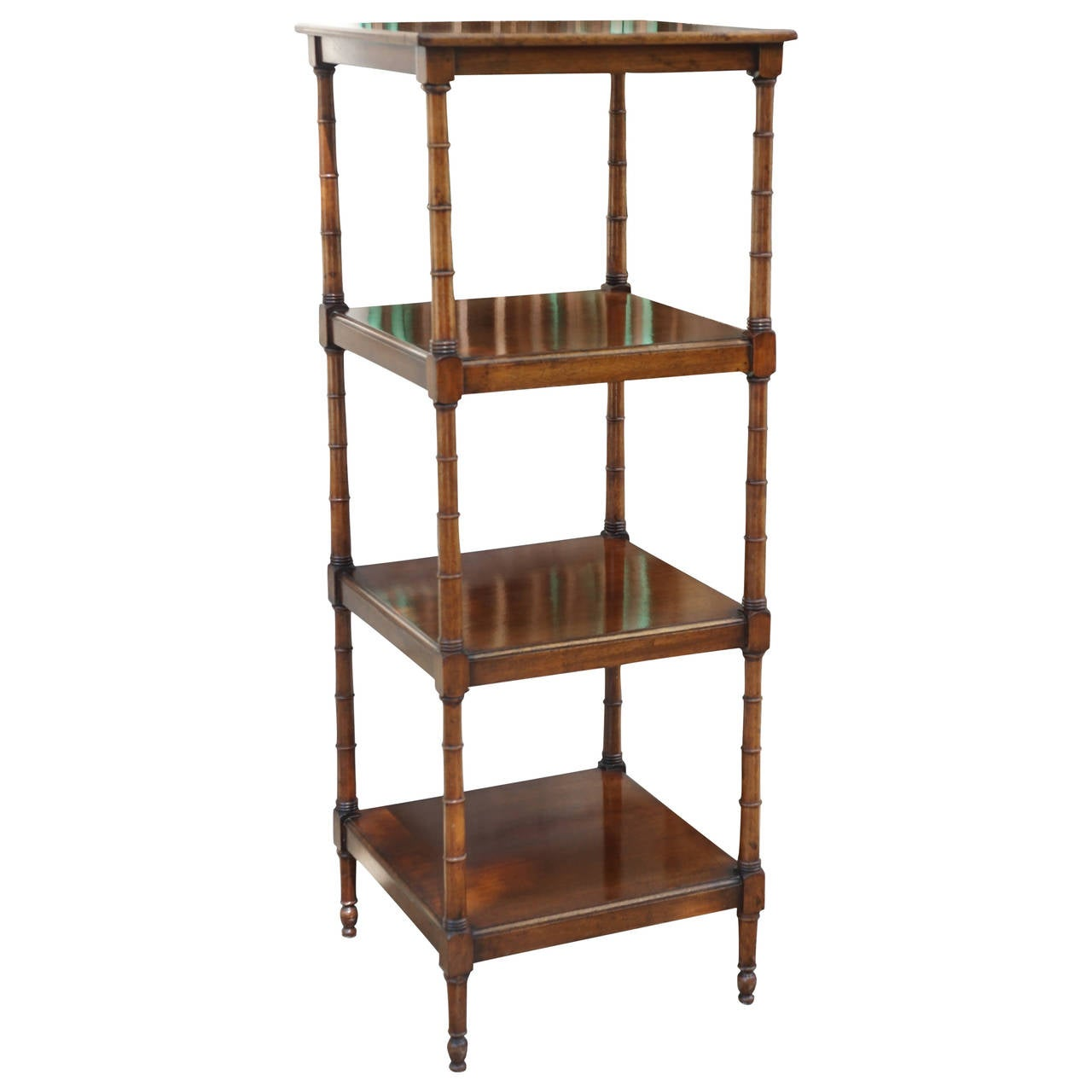 english edwardian mahogany four shelf etagere for sale at 1stdibs. Black Bedroom Furniture Sets. Home Design Ideas