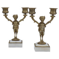Pair of French 19th Century Louis XVI Style Gilded Bronze Candelabra