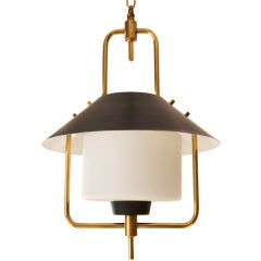 Brass and Enameled Hanging Lamp