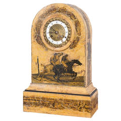 Charles X Tole Peinte and Decoupage Mantel Clock