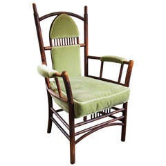 Adirondack Arm Chair with Mohair Upholstery