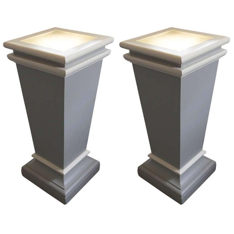 Pair Illuminated Pedestals